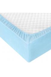 Голубая махровая простыня